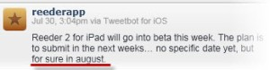 Tweet saying that Reeder for iPad 2 arrives in August 13