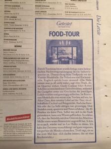 """Artikel """"Getestet Food-Tour"""" im ZüriTipp vom 29.10.15"""
